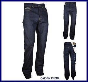 Jeans Calvin Klein CK Uomo Classico Regular Fit Diritto Blu Scuro Taglia W 38