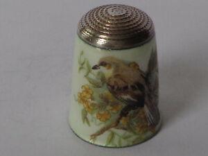 Superb Vintage J. Swann & Son Silver Enamel Thimble, Bird Decor, Birmingham 1981