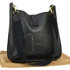 Auth HERMES EVELYNE GM Shoulder Bag Traurillon Clemence Black Vintage TG00223