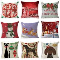 Cotton Linen Christmas Xmas Style Pillow Case Throw Cushion Cover Home Decor
