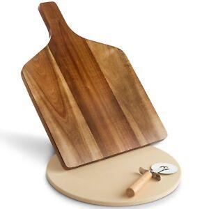 VonShef Pizza Set Board Cutter Ceramic Baking Stone Acacia Wood Serving Platter