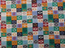 Stoff Sweat Baumwolle Ornamente indianisch Flausch bi-elastisch Meterware 0,25m