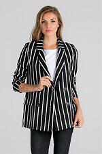 4x2 double-breasted chalk stripe blazer by Vida Clothing