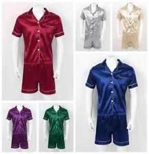 Men Silk Satin Pajamas Set Short Sleeves Sleepwear Loungewear Nightwear Shirt