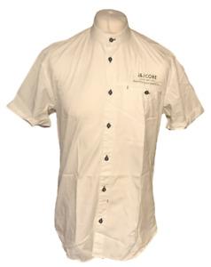 Men's Jack Jones Core LA Shirt Large Formal Casual 100% Cotton White Collarless