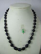 Perlenkette Halskette schwarze 2 cm große Tahiti Perle Natur NICHT GEFÄRBT 66cm
