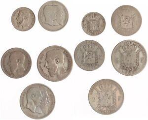Belgien 5 Stück - Leopold I., Leopold II. - Silber - s/ss, ss