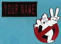 ADULT size Ghostbusters No Ghost 2  & Custom Name 2 Tag Patch Set: Iron on style