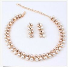 Fashion Pearl Necklace Stud Earring Wedding Bride Gold Plated Jewelry Set P40