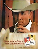 1970 Marlboro cigarettes cowboy smoking tan hat vintage photo print ad  adL36