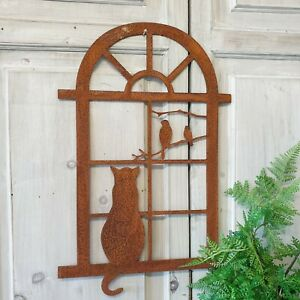 Rustic Metal Cat At The Window Wall Art Garden Decoration Rusty Shabby Gift