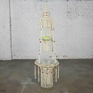 Vintage BoHo Chic White Cord Macramé Hanging Table & Round Glass Top & Green Pot