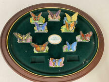 Franklin Mint The Butterfly Garden Napkin Ring Set W Display
