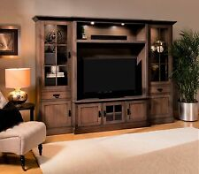 Amish TV Entertainment Center Wall Unit Mission Lynwood Bookcase Solid Wood