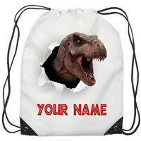 Personalised Dinosaur T-Rex Gym Bag Boys PE Sports School Swim Bag Waterproof