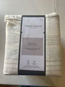 Threshold Flannel 4Pc Bed Sheet Set Gray Stripe FULL, Never Been Opened!