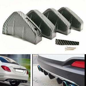4PC Rear Bumper Lower Air Diffuser Fin Pair Carbon Fiber Style Spoiler Protector
