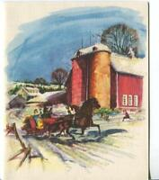 VINTAGE CHRISTMAS GLITTER VICTORIAN SLEIGH RIDE FARM SILO GREETING & SCHOOL CARD