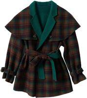 Women's Notched Collar Plaid Wool Blend Midi Pea Coat Jacket with Belt / L