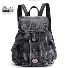 womens punk rock washed denim Backpack Rucksack travel Shoulder messenger Bag
