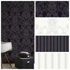 Vlies Tapete Barock Ornament Streifen Uni Schwarz Weiß glitzer