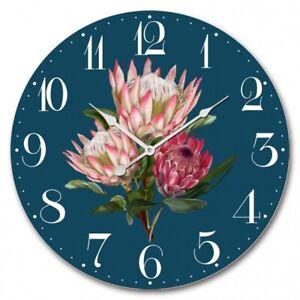 60cm Wall Clock Large Round Pink Protea Flower Dark Jade MDF Indoor Big Gift