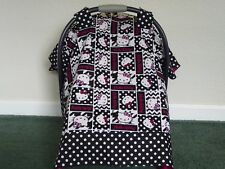 **HELLO KITTY** in pink & black w/polka dot Handmade Baby Car Seat Canopy-Cover