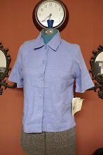 Petites Napa Valley Size P4 Blue Embroidered Button Down Linen SS Blouse NWT