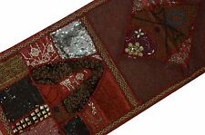 INDIAN BEADED MIRROR WORK EMBROIDERY PATCHWORK WALL HANGING RED TAPESTRY DECOR