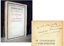 De l'INCONSCIENT à l'AME ENFANTINE Georges MAUCO 1948 Psychologie envoi signé !
