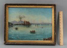 19thC Antique Signed Italian European Maritime Oil Painting w/ Volcano, NR