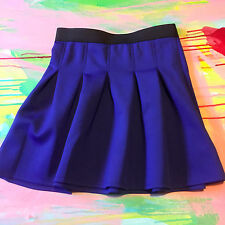 Silence + Noise Royal Blue Skater Skirt, Pleated Skirt Elastic Waist, Med, NWOT