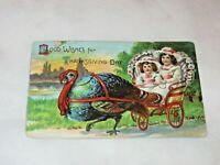 Vtg. Thanksgiving Postcard Embossed Children In Cart Pulled By Turkey Bird 1900s