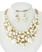 Women Gold Tone Chunky Bib Mesh White Pearl of Wisdom Bridal Dressy Necklace Set