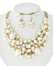 Women Gold Tone Chunky Bib Mesh White Pearl of Wisdom Bridal Dressy Necklace Set