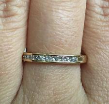 14k Yellow Gold Princess Cut Channel Set Diamond Wedding Band Ring Guard
