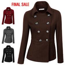 [FINAL SALE] Doublju Womens Double Breasted Pea Coat Jacket