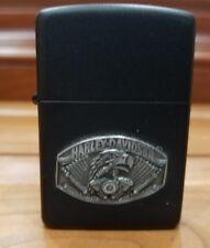 NEW  Zippo Lighter: Raised Harley Davidson Emblem - Black Matte / NEVER LIT