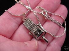 (M-4-I) RCA 44B/BX SILVER Mike Mic Microphone NECKLACE pendant I love mics