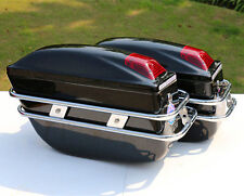 Black Hard Saddle Bags Trunk Luggage Bracket Motorcycle Cruiser Mounts