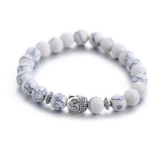 New Tibetan Silver Howlite Buddha White Charm Bracelet Bangle Jewellery Gift Bag