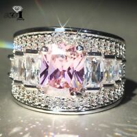 925 Silver Filled Pink Sapphire Birthstone Wedding Princesses Band Rings Gift