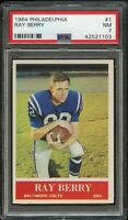 1964 Philadelphia FB Card # 1 Raymond Berry Baltimore Colts PSA NM 7 !!!!