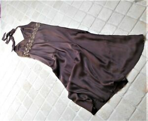 MONSOON PURE SILK LONG DRESS, EMPIRE LINE, BEADED DETAIL SIZE LARGE.