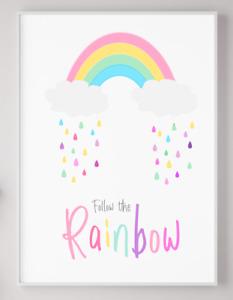 Rainbow Poster Print Picture Nursery Boys Girls Kids Playroom Bedroom A4 PR26