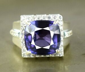 Cushion 11.78 Ct Natural Russian Alexandrite 925 Sterling Silver Unisex Ring