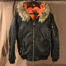 ARMY NAVY Parka Bomber Jacket Hooded Black/Orange SMALL Fur Coat