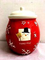 Vintage Christmas Cookie Jar Merry Days Ceramic Snowman Hallmark Canister