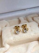 14K Yellow Gold Heart Earrings w/ Swarovski Crystal