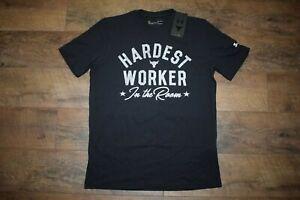 Under Armour Men's Project Rock Hardest Worker T-Shirt 1735 Size M (Black) NWT